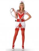 Kostüm freche Krankenschwester für Erwachsene rot-weiss