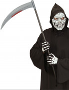 Blutige Sense Halloween-Waffe silber-schwarz-rot 107cm