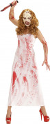 Blutige Mörderin Halloween Damenkostüm Killer-Braut weiss-rot