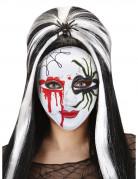 Spinnen-Maske Horrormaske für Halloween weiss-schwarz-rot