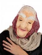 Hexen-Maske im Märchenstil mit Kopftuch hautfarben-weiss-rot
