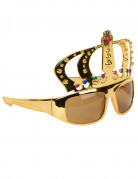 Krone Party Brille gold-rot