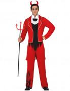 Edles Halloween Teufel-Kostüm rot-schwarz-weiss