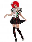 Harlekin-Kostüm Horror-Damenkostüm schwarz-silber-rot