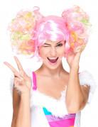 Disco-Perücke mit Zöpfen rosa-bunt
