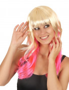 Zweifarbige Damen-Perücke blond-pink