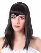 Vampir Perücke mit langen Haaren und Pony Kostümaccessoire schwarz