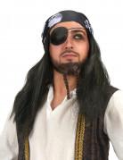 Piraten-Herrenperücke mit Totenkopf-Bandana schwarz
