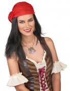 Pirat Herren-Perücke mit Kopftuch schwarz-rot
