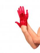 Satin Halb-Handschuhe Damen rot