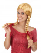 Süße Schulmädchen Damen-Perücke Zöpfe blond