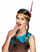 Squaw Perücke Indianer Damenperücke mit Kopfband schwarz