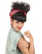 50er Retro Damenperücke schwarz-rot