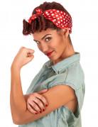 50er-Perücke Retro Stil mit Kopftuch braun