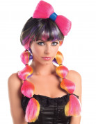 Mehrfarbige-Damenperücke mit Knoten bunt