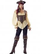 Wilde Piratin Seeräuberin-Damenkostüm braun-beige