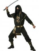 Ninja Kämpfer Kostüm schwarz-gold