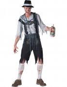 Untoter Bayer Lederhosen-Zombie Halloween Kostüm für Herren schwarz-grau