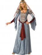 Maid Marian Mittelalter Damenkostüm blau-rot
