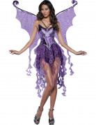 Glamouröse Elfe Nymphen-Damenkostüm lila-schwarz