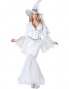 Weisse Hexe Halloween Deluxe-Kostüm für Damen weiss
