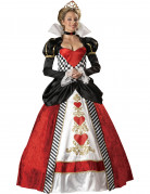 Deluxe Herzkönigin-Damenkostüm rot-schwarz-weiß