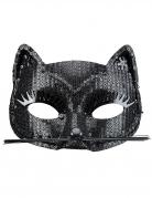 Augenmaske Katze mit Pailletten Kostümaccessoire schwarz