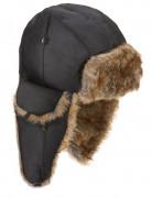 Pilotenmütze mit Pelz Kostümzubehör schwarz