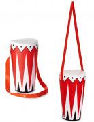 Aufblasbare Trommel Kostümzubehör rot-weiß schwarz 36cm