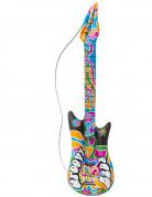 Aufblasbare Hippie Gitarre Kostümzubehör bunt 105cm