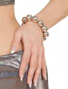 Armband mit Discokugeln Kostümaccessoire silber 2cm kugeln