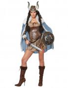 Wikinger Kriegerin Damenkostüm Mittelalter braun-blau