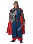 Mittelalter König Herrenkostüm blau-rot