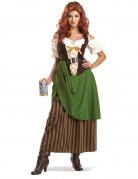 Mittelalterliche Tavernen Magd Damenkostüm braun-beige-grün
