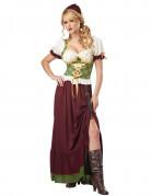 Mittelalter Magd Damenkostüm beige-weinrot