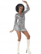 Disco Queen Kostüm Damen grau