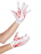 Blutige Handschuhe kurze Halloween-Handschuhe weiss-rot