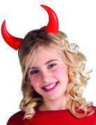 Halloween Hörner-Haarreif für Kinder rot-schwarz 11cm