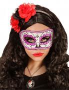 Sugar Skull Augenmaske Tag der Toten weiss-lila