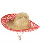 Sombrero Mexiko-Strohhut rot-beige
