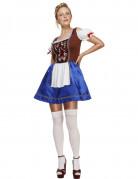 Bayerische Kellnerin Damenkostüm blau