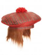 Lustige Schotten-Mütze mit Haaren rot-grün