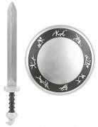Gladiator-Set für Kinder Schwert und Schild silber-schwarz