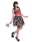 Chinesin Damenkostüm Asien schwarz-rot-bunt