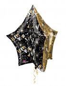 Alu-Luftballon Stern Silvesterdekoration gold-schwarz 81 x 86 cm