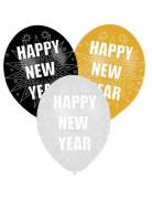 Luftballons für Silvester mit Druck 6 Stück weiß-gold-schwarz