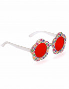 Hippie Blumen Nickel Brille rosa-bunt