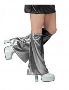 Glänzende Stulpen Kostümaccessoire Disco Silber