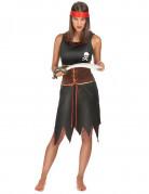 Piratin Damenkostüm schwarz-braun
