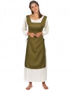 Mittelalterliche Bäuerin Damenkostüm weiss-grün